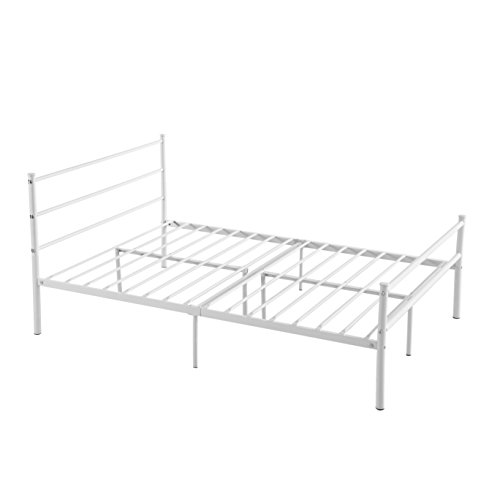 Size, GreenForest 10 Legs Mattress Foundation Two Headboards White Platform Bed Frame Box Spring Replacement (Full Size Metal Bed Frames)