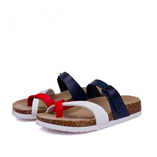 Adjustable Flat Cork with Buckle YaMiFan Toe 10 Sandals Women's Open Strap Slide Aq4xTS