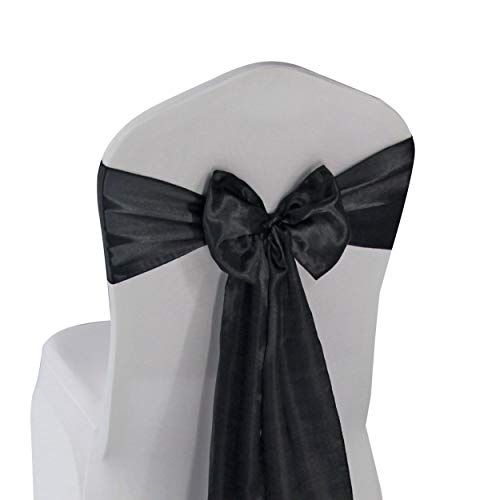 Black Satin Chair Sashes Ties - 12 pcs Wedding Banquet Party Event Decoration Chair Bows (Black, 12)
