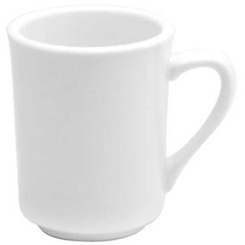 Buffalo Cream White Undecorated Narrow Rim Delmonico Mug, 8 Ounce - 36 per case. Cream White Narrow Rim