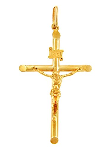 14k Crucifix Pendant - Solid 14k Yellow Gold Tubular Cross Charm Catholic Crucifix Pendant