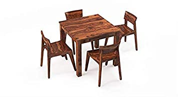 TG Furniture Four Seater Dining Table Set | Solid Sheesham Wood | Home and Living Room (Standard, Natural)