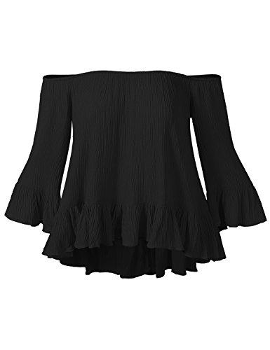 Ruffled Silk Camisole (Luna Flower Women's Summer Rayon Off Shoulder Sexy Neckline Flowy Ruffled Bell Sleeves Tops Black L)
