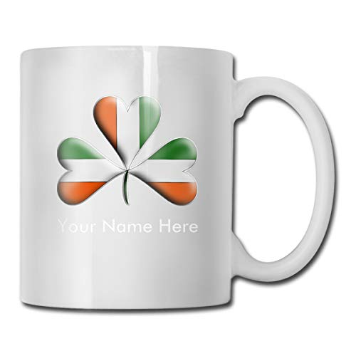 CLLXMUG Irish Flag Tri Colors Themed Shamrock Custom Coffee Mugs / 11oz Ceramic Tea Cup - Novelty Gift