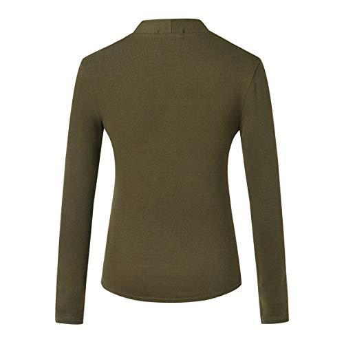 Faux Verte Printemps Longues T Slim Pices Fashion Jumpers Femmes et Tops Manches Shirts Arme Automne Deux Tees Hauts Pulls Blouse AAH4npBq