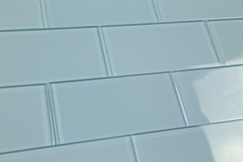 (Light Haven Blue Subway Glass Tile Hand Crafted and Custom Made. Perfect for Kitchens and bathrooms, Sample)
