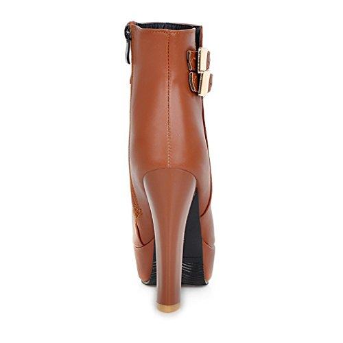 fibbia scarpe In e elegante yellow della testa stivali con circolare con grande spessore di QX cinghia inverno e autunno i ZQ tacchi a alti fax7qwWp