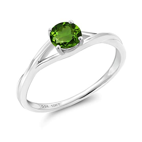 Gem Stone King 0.50 Ct Round Green Chrome Diopside 10K White Gold Solitaire Engagement Ring (Size 7)