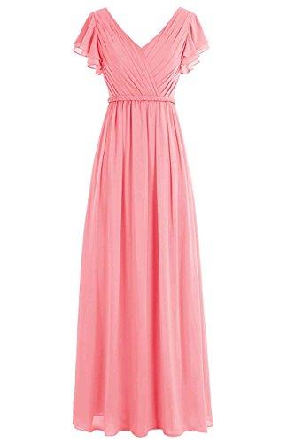 V Anlin Chiffon Bridesmaid Women Coral Pleated Long Neck ALS05 Sleeves Dresses Cap ngYXYrqxt