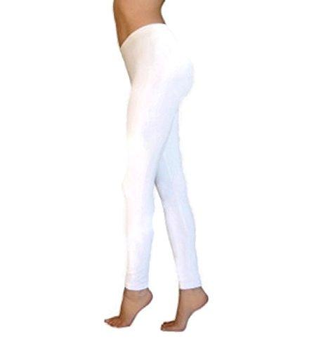 FGR Apparel Basic Leggings Full Length, White (Medium) (White Cotton Leggings)