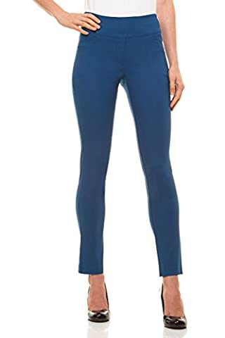 Womens Straight Leg Dress Pants - Stretch Slim Fit Pull On Style, Velucci, Teal-S (Petite Office Pants)