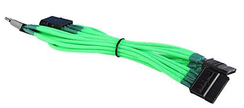 4-Pin Molex to 3x SATA Cable Cord Premium Sleeved Braided Adapter PC Computer by BattleBorn
