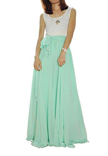 MELANSAY Women's Beatiful Bow Tie Summer Beach Chiffon High Waist Maxi Skirt M,Mint Green