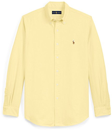 Button Down Classic Oxford Shirt (Polo Ralph Lauren Mens Classic Fit Buttondown Oxford Shirt (Bsr Yellow, X-Large))