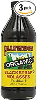 Plantation Blackstrap Molasses, Organic, 15 oz (Pack of 3)