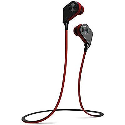 YSYYSH Sports Running Waterproof Bluetooth Headset Hanging Neck Binaural In-ear Music Earplug Magnetic Switch Unisex Headset Portable earphone  Color Red