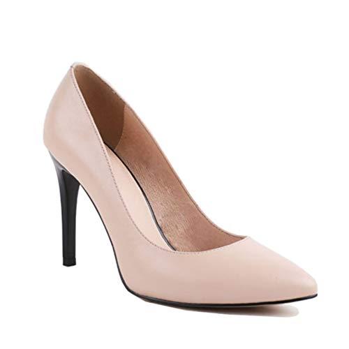 Pointu De Chaussures Parti Véritable À Mouton Talons En Jrenok Bout Mode Hauts Main Rose La Pompes Peau Dames Cuir Femmes XxBPPnwF