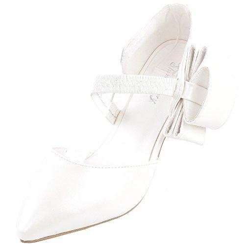 Show Story Retro-D-Orsay Bogen spitz Zehen Exquisite Perle Ferse Hochzeit Pumpe, LF60418 Weiß
