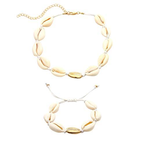 De Bohemian Shell Stil Plage Shell Necklace Bracelet doré Acvip Blanc 4pxI7I