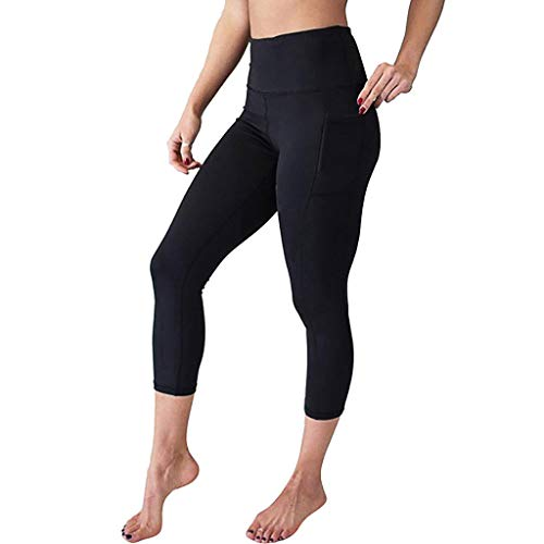 Alicia Pant - SGMORE Short Yoga Pants for Women High Waist Yoga Pants with Pockets Tummy Workout Running Sports Leggings Skinny Thighs Slimming Shapewear Power Flex Capri Black