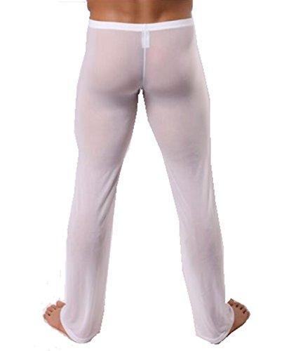 IGIG Men's Mesh Breathable Long Pants Homewear Gauze Temptations Panties (Large, White) (Gauze Beach Pant)