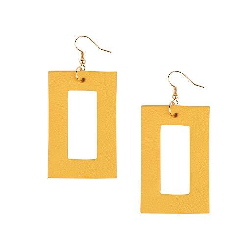Brown Yellow Earrings - Genuine Leather Earrings Retriangle Geometric Leather Dangle Drop Earrings Lightweight Fashion for Women Girls (Yellow 1)