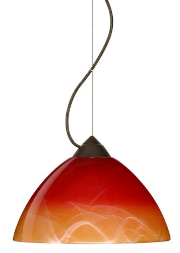 Besa Lighting 1KX-4201SL-LED-BR 1X6W GU24 Tessa LED Pendant with Solare Glass, Bronze Finish