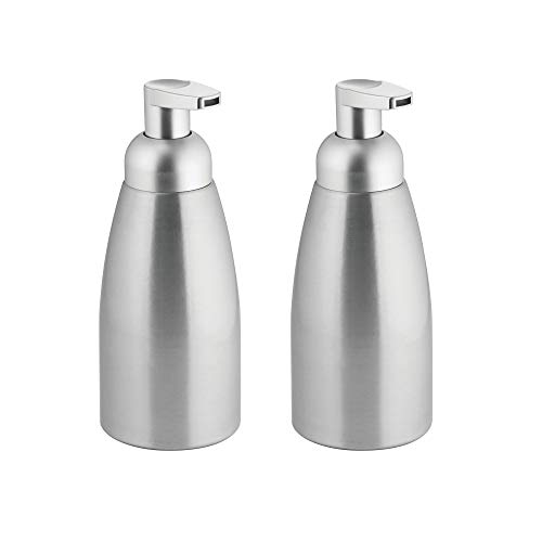 mDesign Modern Metal Foaming Soap Dispenser Pump Bottle for Kitchen Sink Countertop, Bathroom Vanity, Utility/Laundry Room, Garage - Save on Soap - Rust Free Aluminum - 2 Pack - Brushed/Silver ()