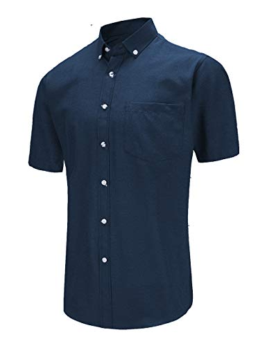 JEETOO Men's Casual Button Down Slim Fit Short Sleeve Oxford Shirts (Onavy, X-Large)