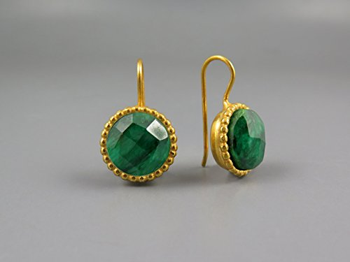Emerald Earring Women Gold Plated Earrings 24k Round Drop Earring May Birthstone Jewelry Genuine Natural Green Emerald Gemstones Green Gold Earring Unique Gifts For Women Casual Earring Modern Earring by Chen Fuchs Jewelry