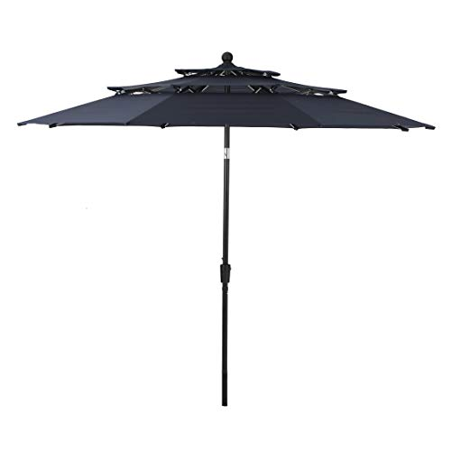 PHI VILLA 10ft 3 Tier Auto-tilt Patio Umbrella Outdoor Double Vented Umbrella, Navy