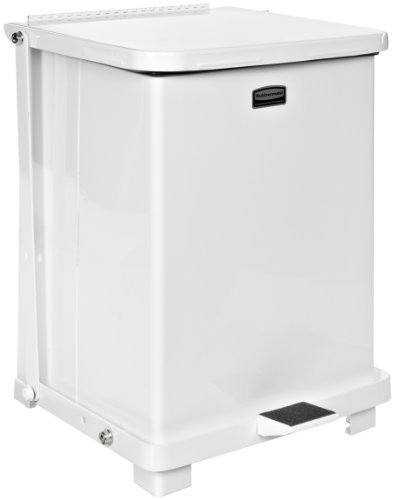 Rubbermaid Commercial FGQST40ERBWH The Silent Defenders Steel Step Trash Can, Square with Retaining Band, 40-gallon, White ()
