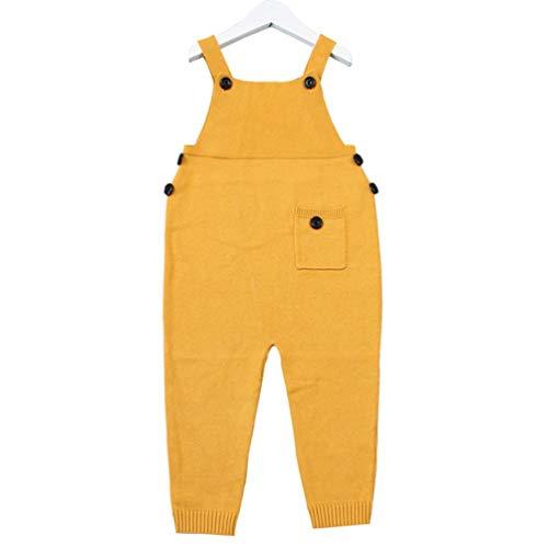 Oyamihin Otoño Unisex Bolsillo de bebé de Punto Mamelucos Monos Monos Niños Niñas Color del Caramelo Pantalones Harem...