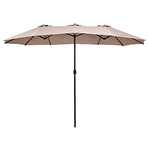 Tangkula 15 Ft Patio Umbrella Double-Sided Steel Outdoor Market Table Umbrella with Crank Beige