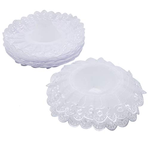 JETEHO Pack of 10 Lace Bouquet Collar,Lace Collar Bouquet Holder Wedding Bridal Bouquet Collar White Lace Decoration Bouquet Holder