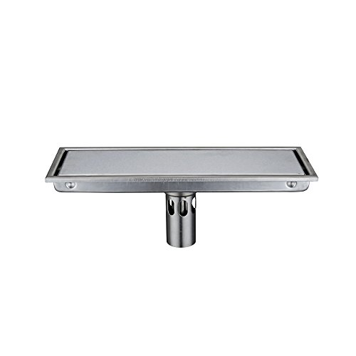 KES SUS 304 Stainless Steel Shower Floor Drain with Removable Cover 11.8-Inch Long, Brushed Finish - Shower Floor Tiles