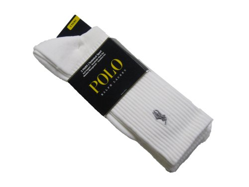 Polo Ralph Lauren Tech Athletic Crew Socks 3-Pack, One Size, White ()