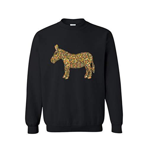 Addblue Donkey Geometric Unisex Sweatshirt, Long Sleeve T Shirt Black,2XL