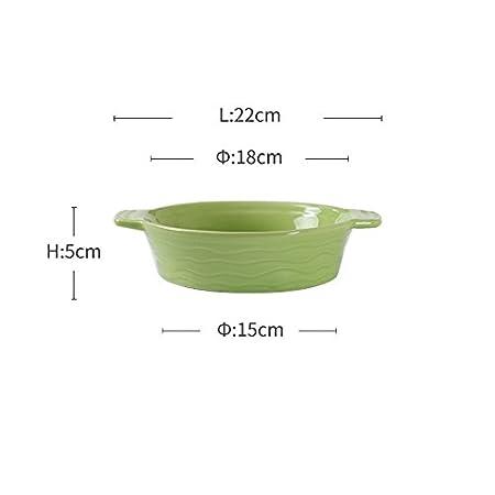 HANLEILE Orejas redondas dobles fuente de horno de cerámica, horno ...