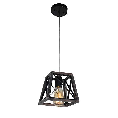 2 Light Island Pendant - Beuhouz Lighting Farmhouse Hanging Lighting, 1-Light Metal and Wood Kitchen Pendant Light Rustic Cage Island Lighting Edison E26 8002
