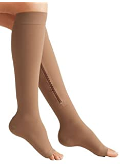 2298b0f858c Zipper Medical Compression Socks with Open Toe - Best Support Zipper  Stocking for Varicose Veins