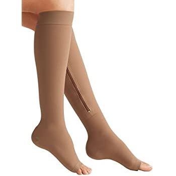 70b4df14f9 Zipper Medical Compression Socks With Open Toe - Best Support Zipper  Stocking for Varicose Veins,