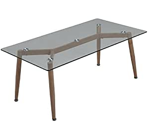 Mesa de comedor nordica cristal transparente 140x80 for Mesas de comedor amazon