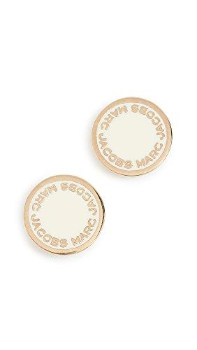 Marc Jacobs Women's Enamel Logo Disc Stud Earrings, Cream, Off White, Gold, One Size