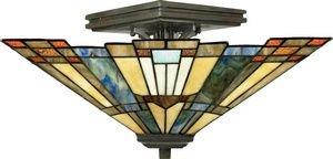 "Quoizel TFIK1714VA Inglenook Tiffany Semi-Flush Ceiling Lighting, 2-Light, 120 Watts, Valiant Bronze (8"" H x 14"" W) from Quoizel"