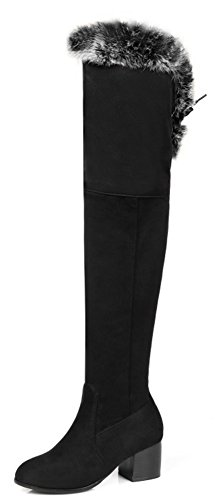 Aisun Womens Elegant Faux Suede Slim Round Toe Dressy Inside Zip Up Lace Up Block Mid Heel Over The Knee Boots Black