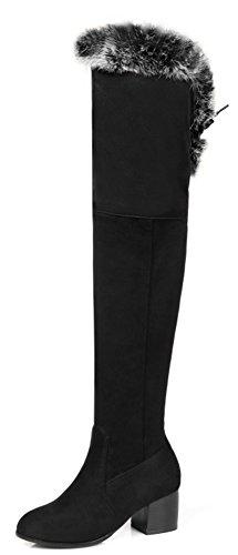 Aisun Femmes Élégant Faux Suède Mince Bout Rond Habillé À Lintérieur Zip Up Lacets Jusquà Mi-talon Sur Les Bottes Au Genou Noir