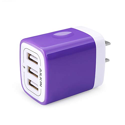USB Charger Adapter, Ailkin 3.1A 3-Port Powerful Universal Home Travel USB Fast Charging Adapter Plug Replacement for iPhone X/8/7/Plus, Samsung Galaxy Series, Huawei, HTC, LG, Kindle (Purple)