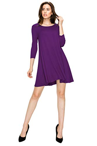WDR930 Womens Round Neck 3/4 Sleeves Trapeze Dress With Pockets M Purple ()