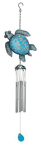 Gift Lawn Ornament (Regal Art & Gift 8.25 Inches X 3 Inches X 34.75 Inches Metal/Glass Coastal Chime - Sea Turtle)